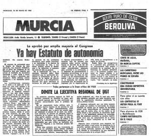 Noticia de La Verdad donde se anuncia que la Región ya tiene estatuto. AÑO 1982