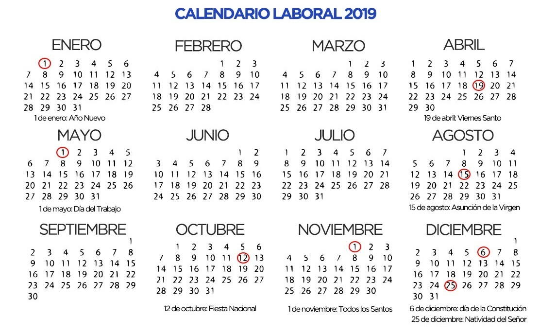 Calendario De Semanas.Beaches Calendario Laboral 2019 Semanas Numeradas