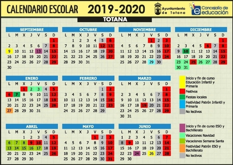 Calendario 2019 Escolar 2020 Madrid.Calendario Escolar 2019 2020 En Totana